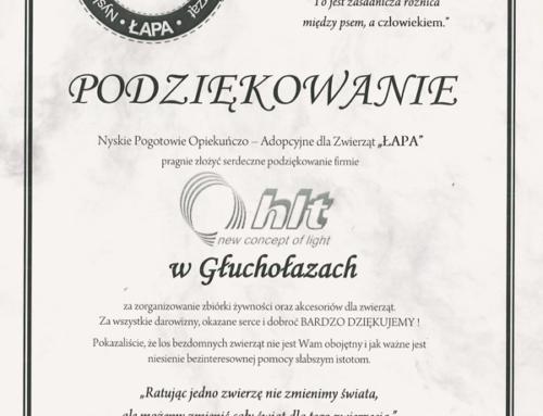 """Wspieramy Nyskie Pogotowie Opiekuńczo-Adopcyjne dla Zwierząt """"ŁAPA"""""""