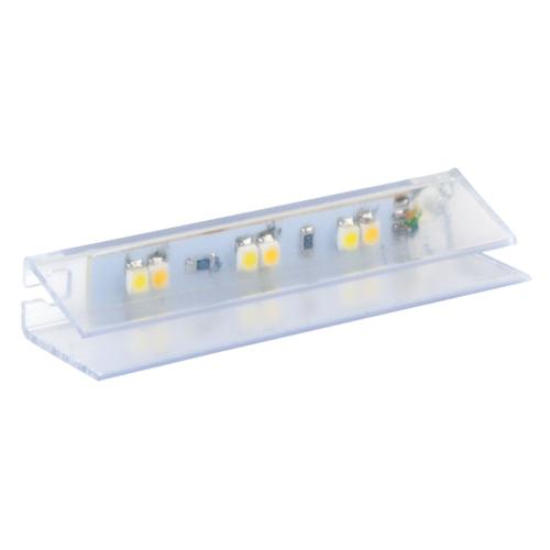 Klips LED bicolour do półek szklanych z plastiku