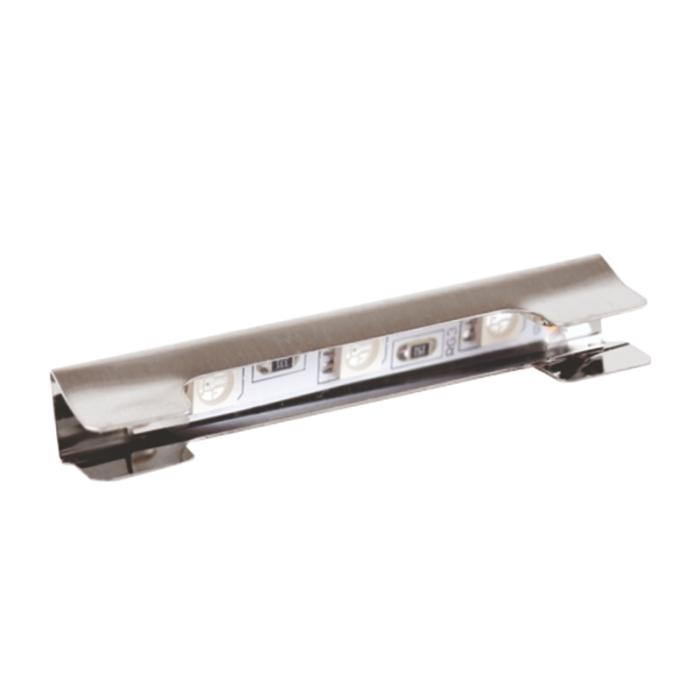 Klips LED rgb do półek szklanych ze stali nierdzewnej inox