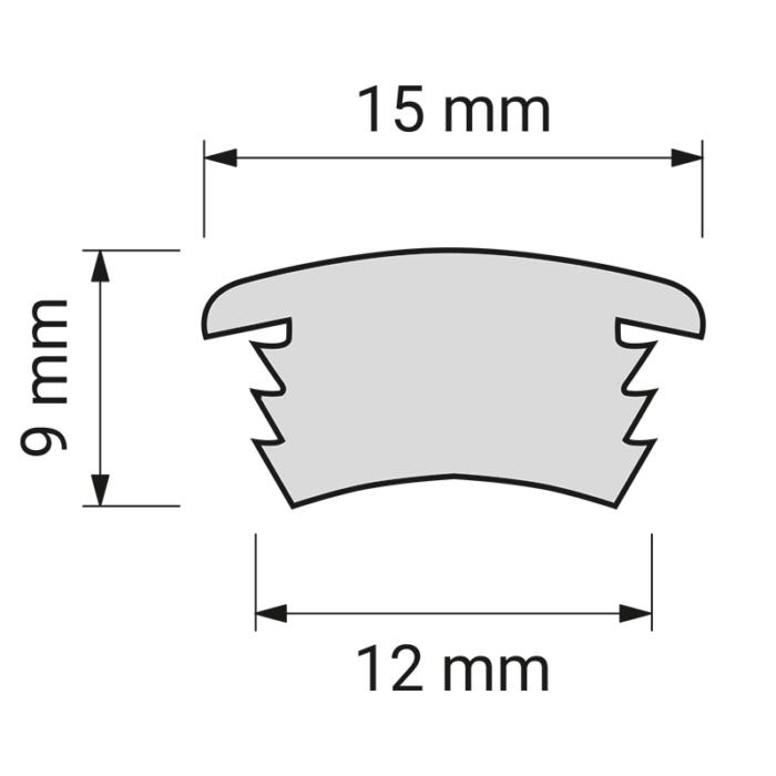 Cover eleastic - elastyczny profil led do wpustu do mebli - rysunek techniczny