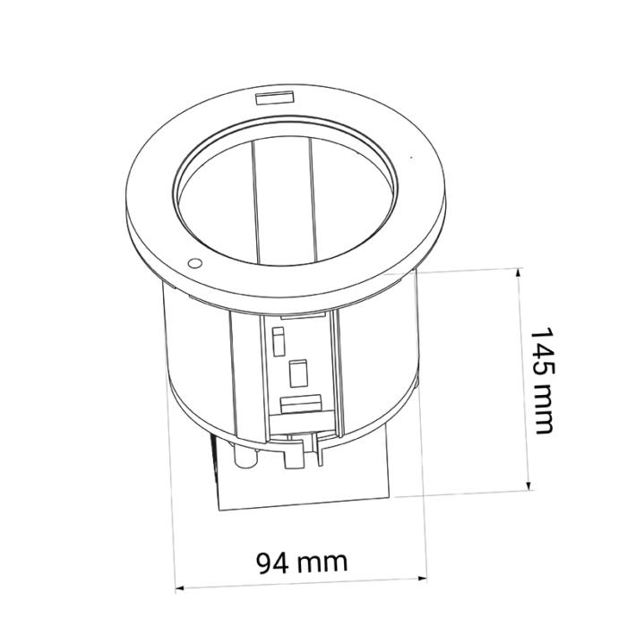 uchwyt do wpustu na kubek z ładowarką USB - rysunek techniczny