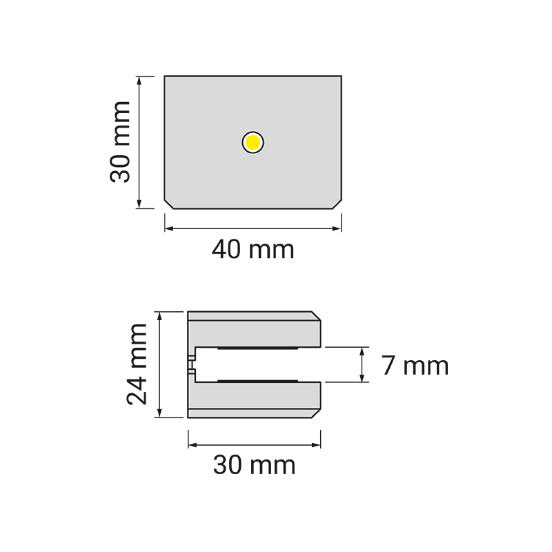 Dojo 1d - oprawa led nakładana na półkę w meblach. Rysunek techniczny.