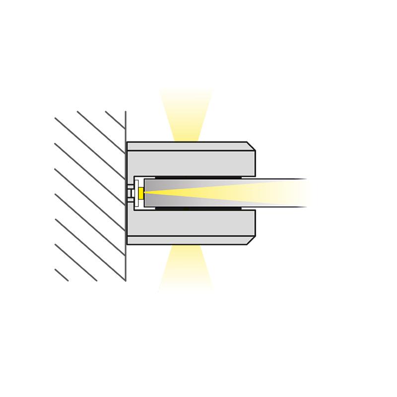 Dojo 3D oprawa LED nakładana na szklaną półkę - sposób świecenia