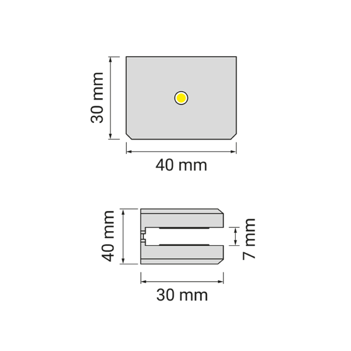 DOJO Slim 2d oprawa led do półek - rysunek techniczny
