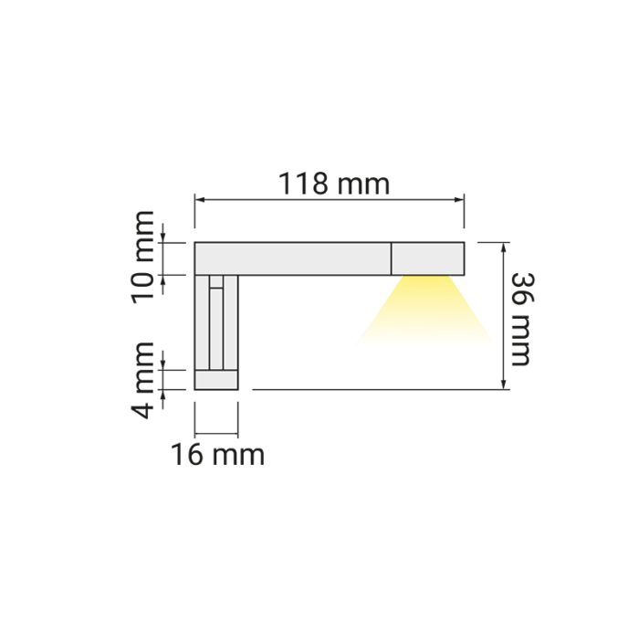 Wysięgnik LED Eiko 12V - wymiary
