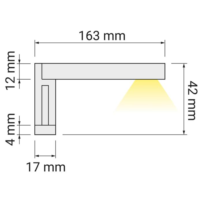 Wysięgnik LED Eri 230V rysunek techniczny