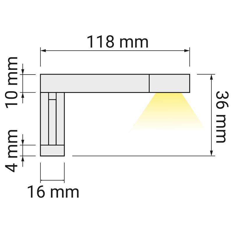 Wysięgnik LED Eriko 230V rysunek techniczny