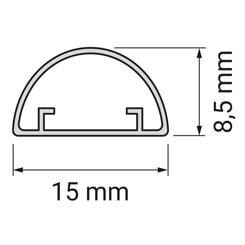 Profil Iluna - profil do taśm led z tworzywa sztucznego. Przekrój.