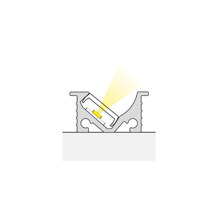 IVER LINE aluminiowy profil do oświetlenia ledowego do wpustu - światło