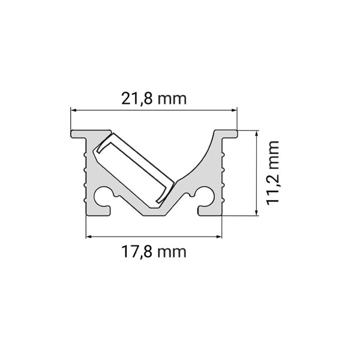 IVER LINE aluminiowy profil do oświetlenia ledowego - rysunek techniczny