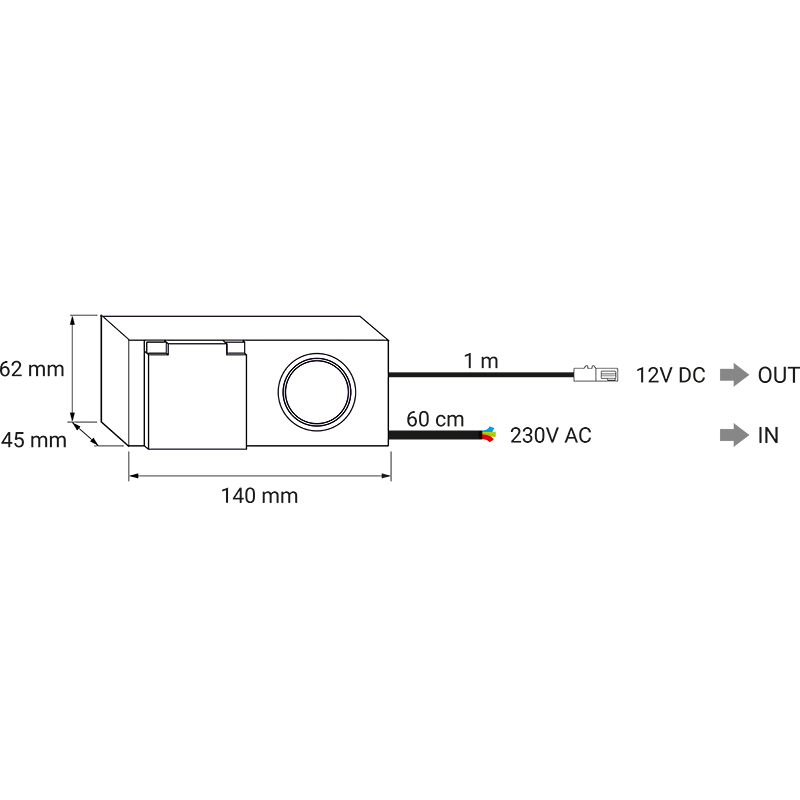 Kombibox 230 V AC 12 V DC ip44 - rysunek techniczny