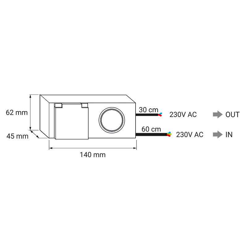 Kombibox 230 V AC ip44 - gniado meblowe do łazienki - rysunek techniczny