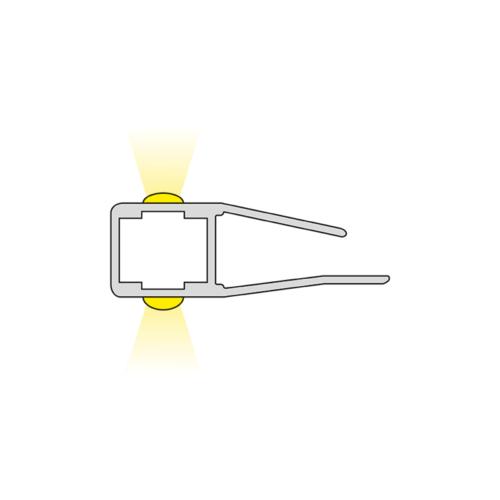 Klips 2D. LED-Beleuchtung für Glasregale. Hersteller von Möbelbeleuchtung - HLT
