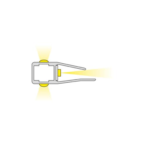 Clips 3D. LED-Beleuchtung für Glasregale. Hersteller von Möbelbeleuchtung - HLT