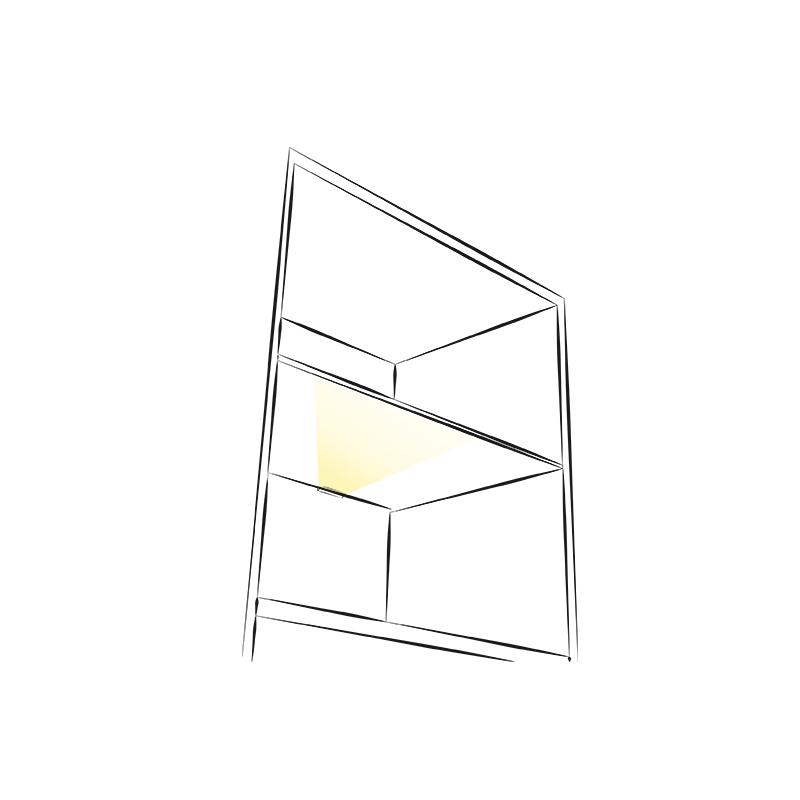 Klips 3d - oświetlenie do mebli do półek.. Aranżacja z wykorzystaniem klipsa 3d do mebli.