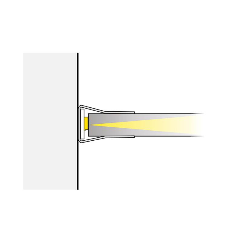 Klips LED bicolour do półek szklanych ze stali nierdzewnej - światło