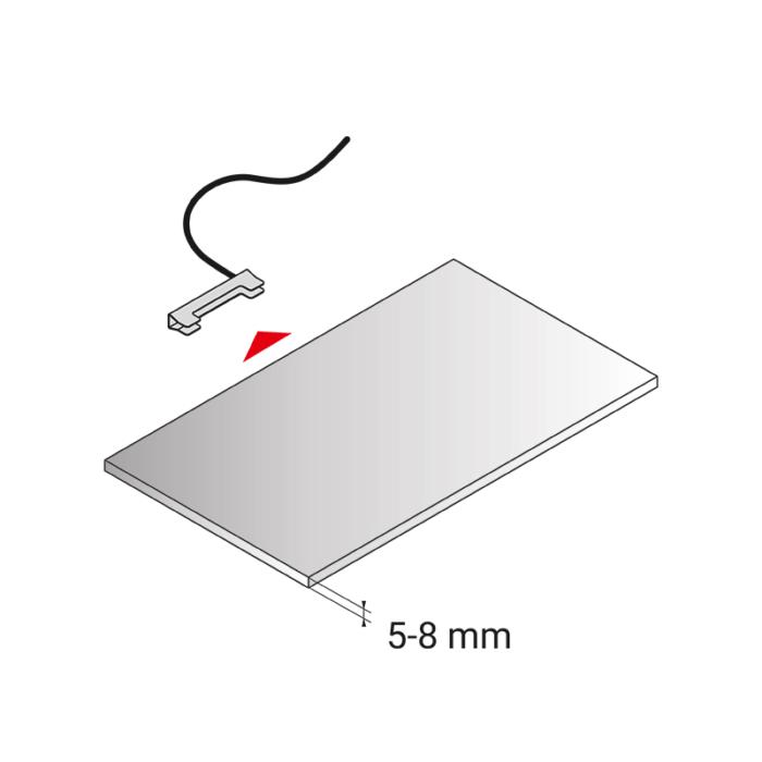 Klips LED bicolour do półek szklanych ze stali nierdzewnej - montaż