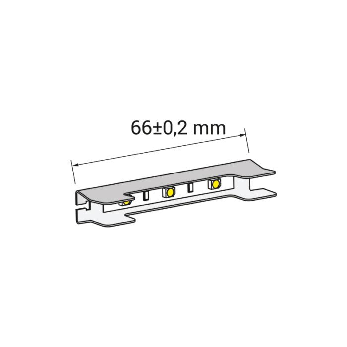 Klips LED bicolour do półek szklanych ze stali nierdzewnej - rysunek techniczny 3d