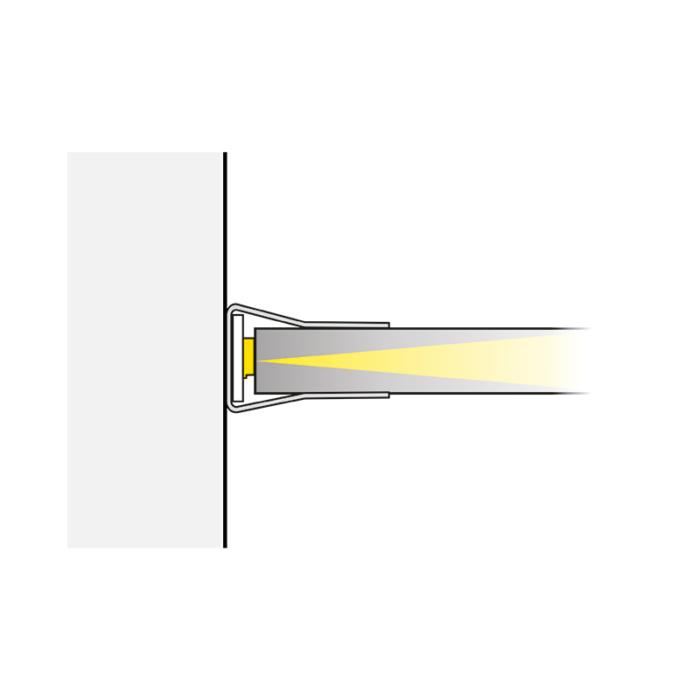 Klips LED do półek szklanych ze stali nierdzewnej - sposób świecenia