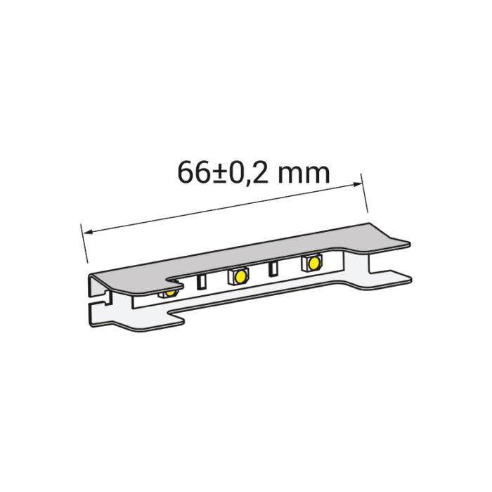 Klips LED do półek szklanych ze stali nierdzewnej - rysunek techniczny