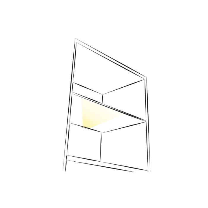 Klips LED do półek szklanych z plastiku - aranżacja