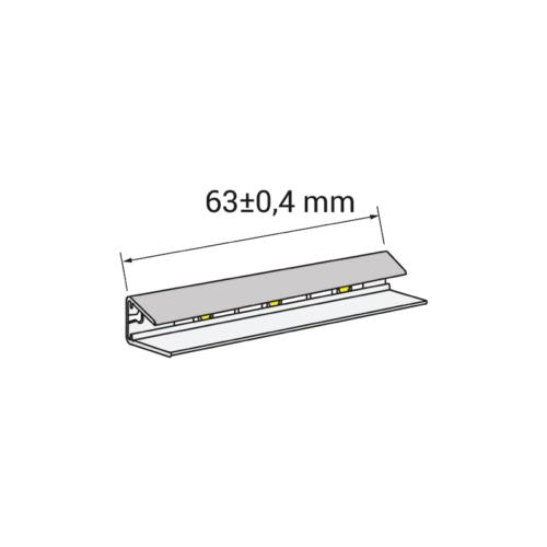 Klips LED do półek szklanych z plastiku - rysunek techniczny