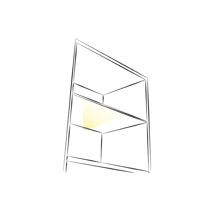 Klips LED rgb do półek szklanych ze stali nierdzewnej inox - aranżacja