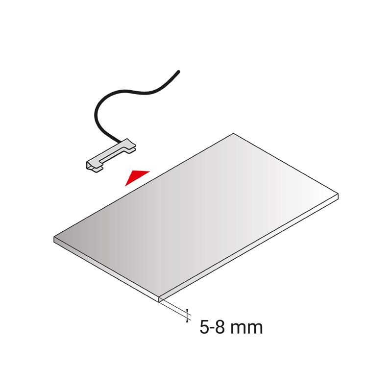 Klips LED rgb do półek szklanych ze stali nierdzewnej inox - montaż
