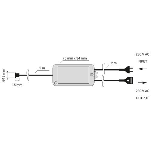 Zestaw sterujący LED IR-K1 230 V AC - schemat