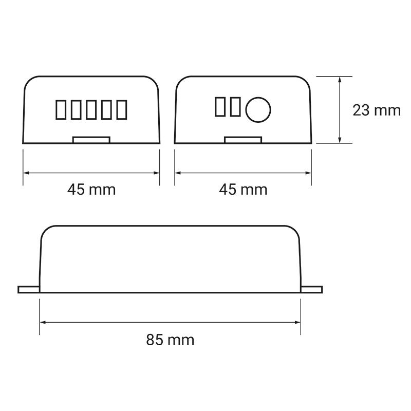 Zestaw sterujący oświetleniem LED RF 1x - wymiary sterownika
