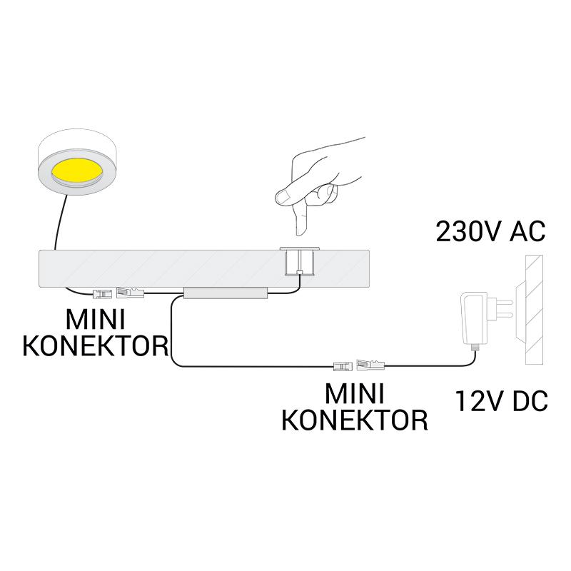 Wyłącznik dotykowy led ze ściemniaczem LED 1