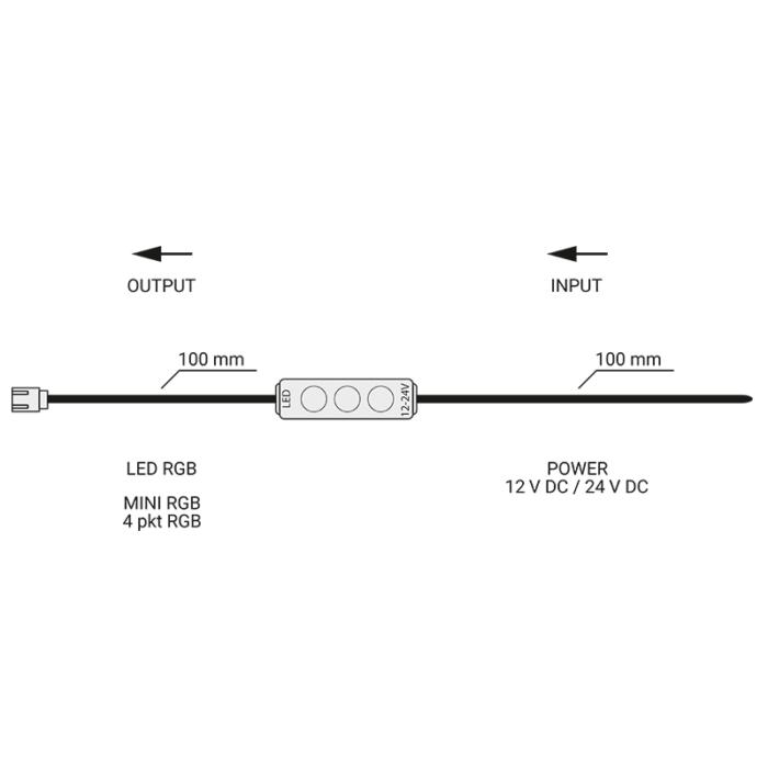 Sterownik membranowy mini led RGB - schemat