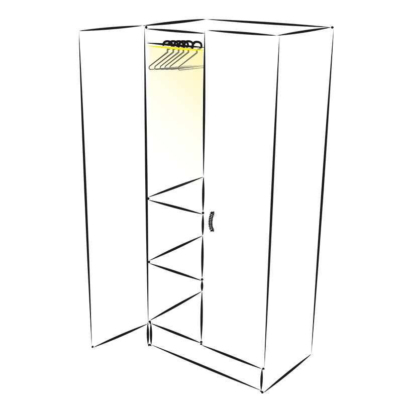 Drążek do szafy z oświetleniem LED - Lift Led. Zastosowanie
