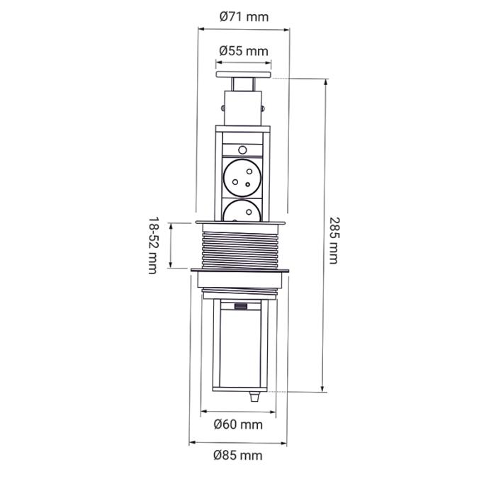 Liftbox usb - przedłużacz, gniazdo meblowe wsuwane - rysunek techniczny