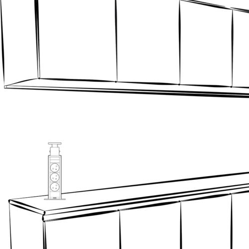 Liftbox usb - przedłużacz, gniazdo meblowe wsuwane aranżacja