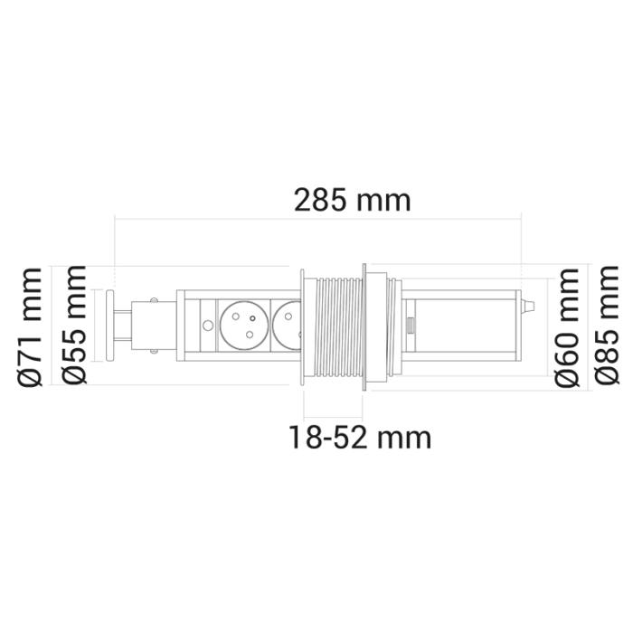 Liftbox usb - przedłużacz, gniazdo meblowe wysuwane