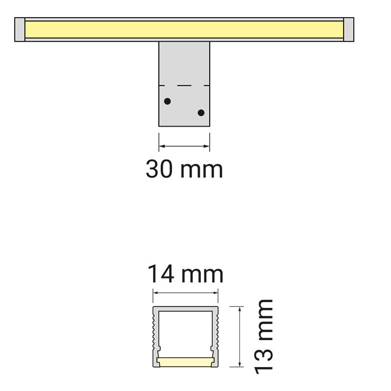 Wysięgnik LED Polistar - rysunek technicznych