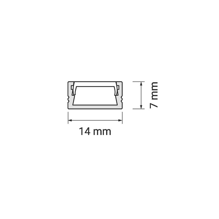 Profil Polarus Micro - aluminiowy profil do oświetlenia LED. Oświetlenie liniowe LED. Rysunek techniczny.