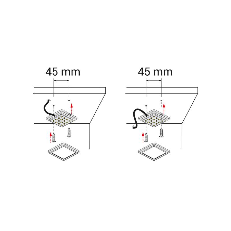 Quatro bicolour - oprawa led do mebli - montaż
