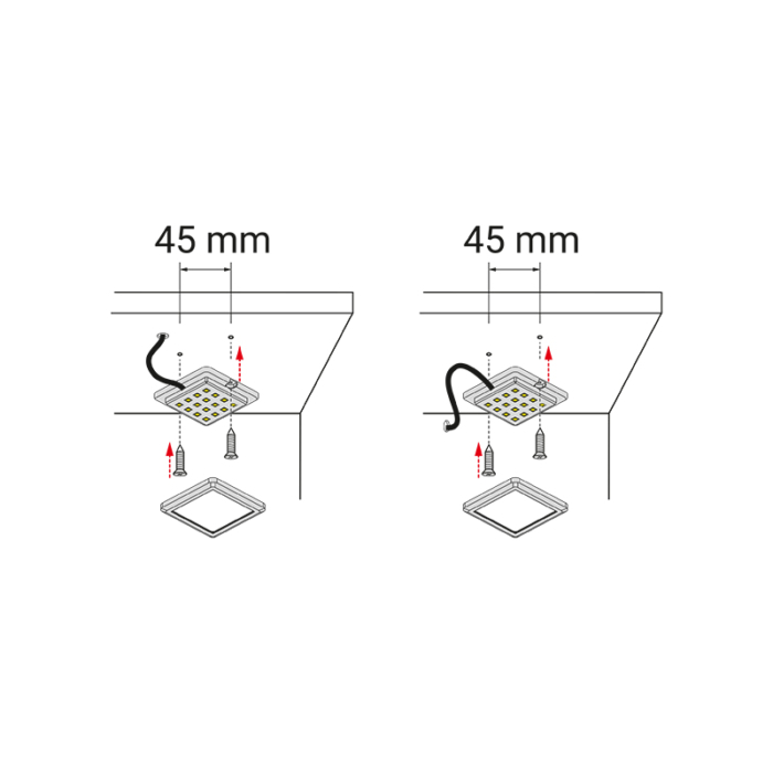 Quatro tricolour - oprawa led do mebli - montaż