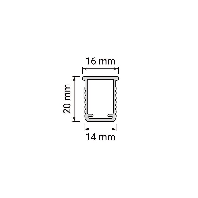 Rodled maxi - profil led z tworzywa sztucznego do wpsutu - rysunek techniczny