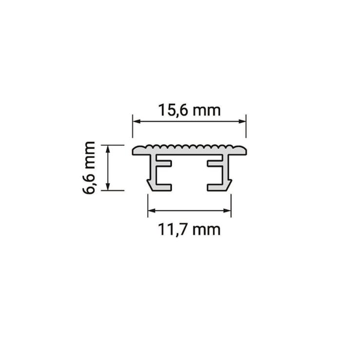 Rodled mini - profil led z tworzywa sztucznego - przekrój - rysunek techniczny
