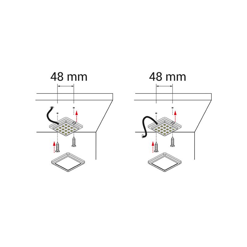 Oświetlenie led do mebli i wnętrz - opraw led square mono - montaż