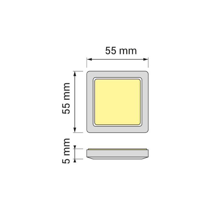 Oświetlenie led do mebli i wnętrz - opraw led square mono - rysunek techniczny