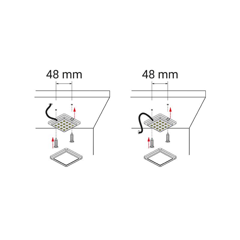 Oświetlenie led do mebli - square RGB - montaż