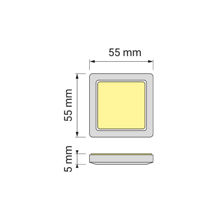 Oświetlenie led do mebli - square RGB- wymiary