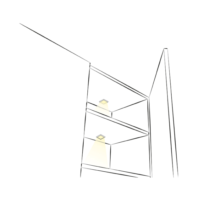 Oświetlenie led do mebli i wnętrz - opraw led square XL - aranżcja