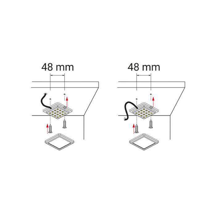 Oświetlenie led do mebli i wnętrz - opraw led square XL - montaż