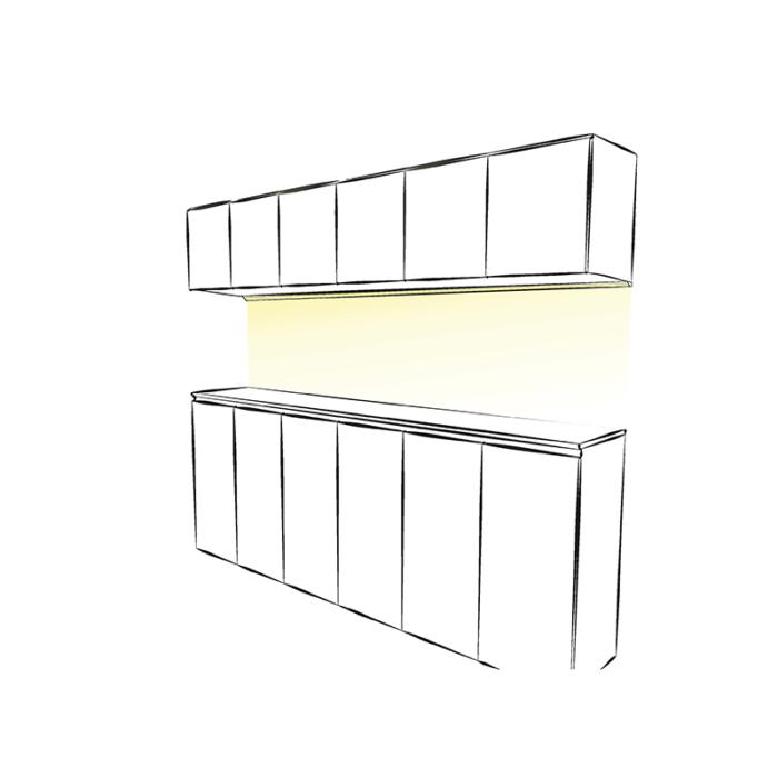 Starline Micro - aranżacja zastosowanie profilu do oświetlenia led w kuchni
