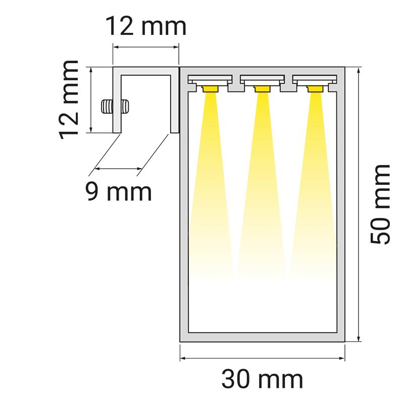 Oświetlenie lustra LED Trend Mirror - rysunek techniczny
